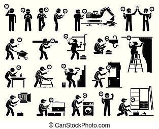industriel, ambulant, app, arbejder, konstruktion, bruge, smartphone.