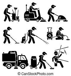 industriel, cliparts, arbejder, rensning