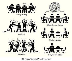 inefficient, discussion., har, ineffektive, møde, virksomhedsledere