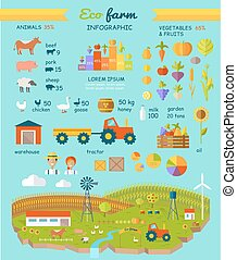 infographic, lejlighed, elementer, eco, agerjord, vektor, konstruktion