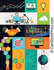 infographic, lejlighed, layered, -, illustration, symboler, vektor, konstruktion, icons.