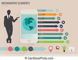 infographic, touchscreen, farverig, viser, -, illustration, avis, vektor, konstruktion, skabelon, infographics, apparat, forretningsmand, skabelon