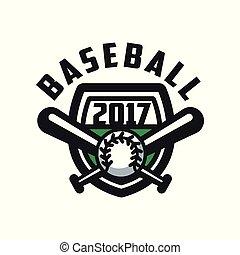 insignie, emblem, baseball, banner, by, emblem, illustration, element, vektor, konstruktion, baggrund, logo, etikette, 2017, hvid, skabelon