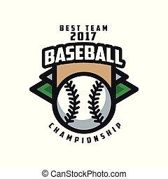 insignie, emblem, baseball, banner, by, logo, mesterskab, emblem, illustration, element, vektor, konstruktion, baggrund, hold, etikette, 2017, hvid, bedst, skabelon