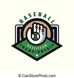 insignie, emblem, baseball, banner, by, logo, mesterskab, emblem, illustration, element, vektor, konstruktion, baggrund, hold, etikette, hvid, bedst, skabelon