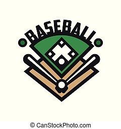 insignie, emblem, konstruktion, banner, by, emblem, illustration, element, vektor, etikette, baggrund, logo, baseball, hvid, sport, skabelon