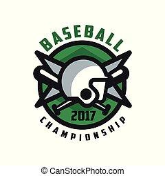 insignie, emblem, konstruktion, mesterskab, baseball, banner, by, farve, emblem, illustration, element, vektor, etikette, baggrund, grønne, 2017, hvid, logo