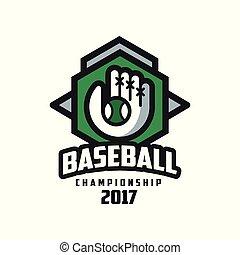 insignie, emblem, mesterskab, baseball, banner, by, emblem, illustration, element, vektor, etikette, baggrund, konstruktion, 2017, hvid, logo