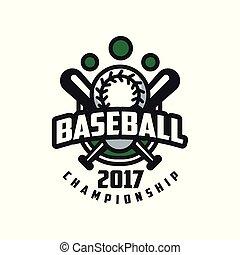 insignie, emblem, mesterskab, baseball, banner, by, emblem, illustration, element, vektor, konstruktion, baggrund, logo, etikette, 2017, hvid, skabelon