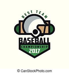 insignie, emblem, mesterskab, baseball, banner, by, logo, emblem, illustration, element, 2017, vektor, konstruktion, baggrund, hold, etikette, hvid, bedst, skabelon