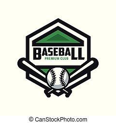 insignie, emblem, premium, banner, by, klub, baseball, emblem, illustration, element, vektor, etikette, baggrund, logo, konstruktion, hvid, skabelon