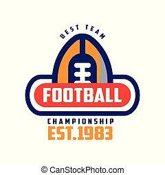 insignie, est, 1983, fodbold, mesterskab, emblem, illustration, amerikaner, vektor, baggrund, hold, logo, hvid, sport, bedst, skabelon