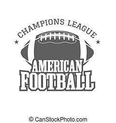 insignie, farve formgiv, monochrome, style., vinhøst, isoleret, baggrund., retro, tryk, logo, emblem, t-shirt, fodbold, web., mørke, etikette, mestre, forening, grafik, amerikaner, vektor