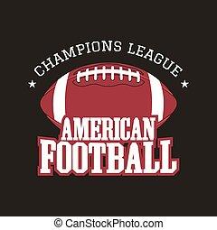 insignie, farve formgiv, style., vinhøst, isoleret, baggrund., retro, tryk, logo, emblem, farverig, t-shirt, fodbold, web., mørke, etikette, mestre, forening, grafik, amerikaner, vektor