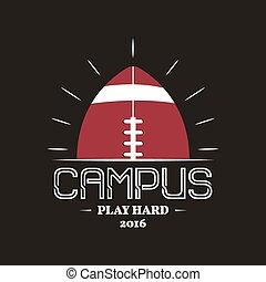 insignie, farve, logotype, konstruktion, logo, campus, vinhøst, isoleret, style., baggrund., retro, tryk, farverig, fodbold, web., mørke, etikette, t-shirt, grafik, emblem, amerikaner, vektor