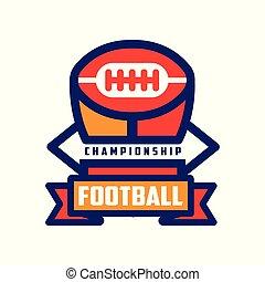 insignie, mesterskab, farverig, fodbold, emblem, illustration, amerikaner, vektor, baggrund, hold, logo, hvid, sport, skabelon