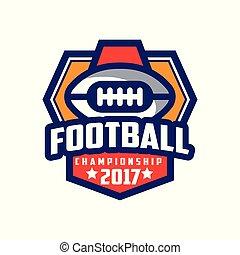 insignie, mesterskab, fodbold, emblem, illustration, amerikaner, vektor, baggrund, hold, logo, 2017, sport, hvid, skabelon