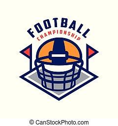 insignie, mesterskab, fodbold, emblem, illustration, amerikaner, vektor, baggrund, hold, logo, hvid, sport, skabelon