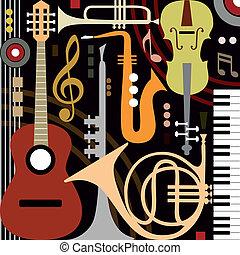 instrumenter, abstrakt, musikalsk begavet