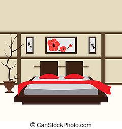 interior, vektor, soveværelse