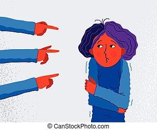 intolerant, grusomme, opførsel, kvinde, vektor, følelse, begreb, sociale, pege, problem, pige, forskrækket, discrimination, ubekvemme, groups., shaming, blaming, hånd, unge, finger