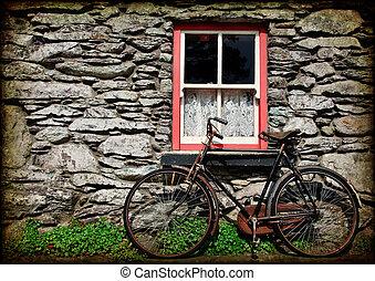 irsk, grunge, tekstur, landlige, hytte, cykel