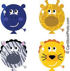 isola, cute, sæt, balloon, ansigter, dyr