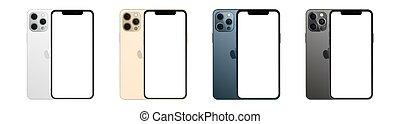 isoleret, 12, iphone, colors., max, fire, set., vektor, professionel, hvid, æble, illustration, baggrund., mockup