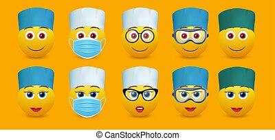 isoleret, emoticon, sæt, doktor, vektor, illustration, karakter