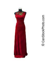 isoleret, herskabelig, mannequin, hvid klæd, rød