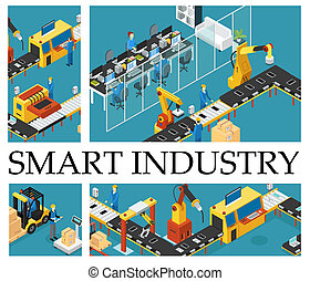 isometric, automatiseret, komposition, fabrik