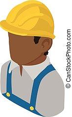 isometric, bygmester, firmanavnet, amerikaner, afrikansk, ikon, ingeniør, 3