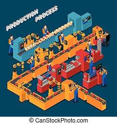isometric, fabrik, komposition