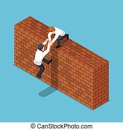 isometric, hans, hjælp, mur, oppe, forretningsmand, klatre, mursten, kammerat