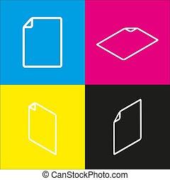 isometric, illustration., vertikal, gul underskriv, magenta, sort, fremspringet, vector., backgrounds., hvid, dokument, cyan, ikon