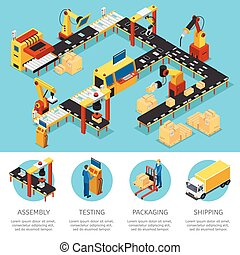 isometric, industriel, fabrik, komposition