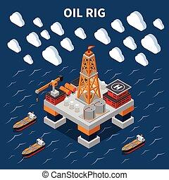 isometric, komposition, industri olie
