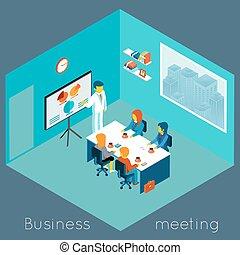 isometric, møde, firma, 3
