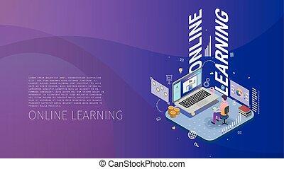 isometric, metafor, moderne, firmanavnet, konstruktion, lærdom, online, begrebsmæssig, komposition