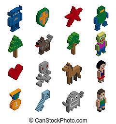 isometric, pixel, bogstaverne