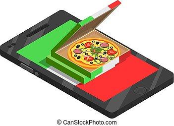 isometric, pizza, komposition, online