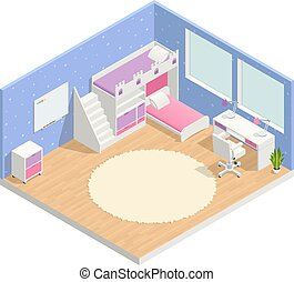 isometric, rum, komposition, børn