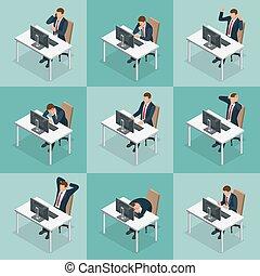 isometric, sæt, arbejder, folk branche, isolated., kontor., karakter, forskellige, businesswoman, design., forretningsmand, opstille, mand