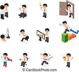 isometric, sæt, elements., cartoon, karakter, vektor, forretningsmand