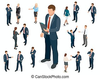 isometric, sæt, folk branche, isolated., businesswoman, karakter, forskellige, design., forretningsmand, opstille, mand