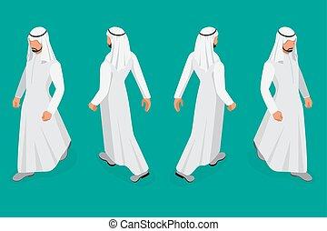 isometric, sæt, folk., karakter, cartoon, araber, baggrund., poses., vektor, konstruktion, egen, forretningsmand, hvid, oprett, din, mand