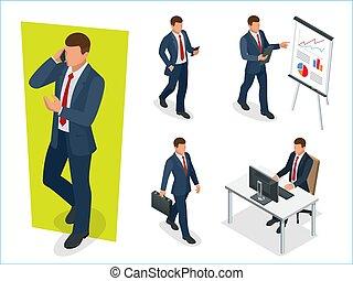 isometric, sæt, folk., karakter, cartoon, baggrund., poses., vektor, konstruktion, egen, forretningsmand, hvid, oprett, din, mand