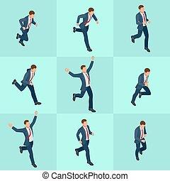 isometric, sæt, folk., karakter, løb, cartoon, baggrund., poses., vektor, konstruktion, forretningsmand, egen, businessman., hvid, oprett, din, mand