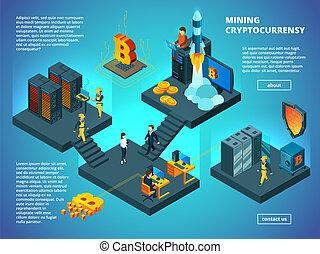 isometric, transaktion, ico, kontor, startup, concept., blockchain, crypto, analytics, vektor, anonym, driftsledere, computer, komposition