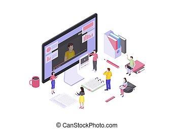 isometric, tutorials, video, illustration, vektor